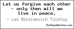 Let us forgive each other - on